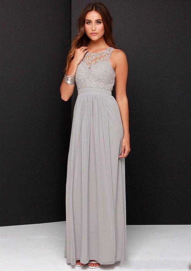 dde790cbd A-Line/Princess Sleeveless Bateau Ankle-Length Chiffon Bridesmaid Dress  With Lace