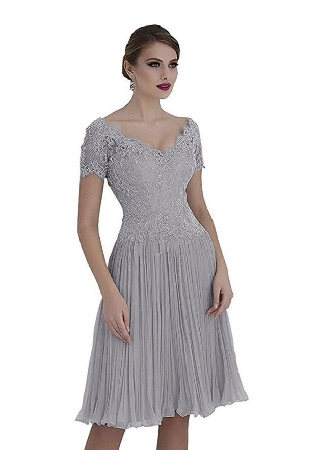 a28748bf8c Chiffon Mother Of The Bride Dress A-Line Princess V-Neck Knee-Length With  Lace
