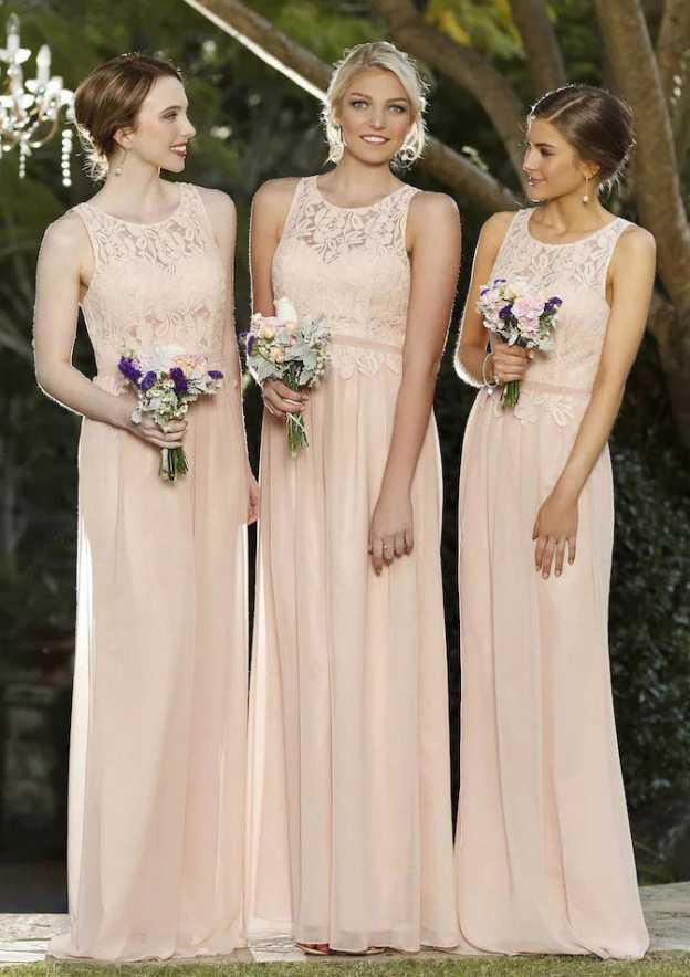 06584f9f2 A-line/Princess Scoop Neck Sleeveless Long/Floor-Length Chiffon Bridesmaid  Dress With Lace