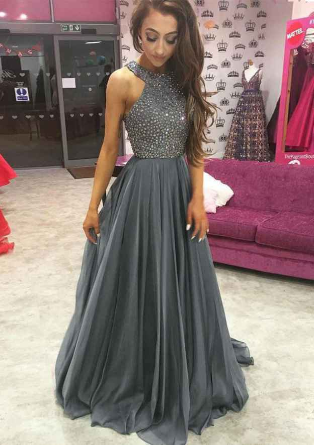 f2948542e4a A-line Princess Scoop Neck Sleeveless Sweep Train Chiffon Prom Dress With  Beading