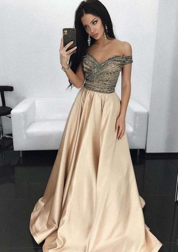 e10213fe1674 A-line/Princess Off-the-Shoulder Sleeveless Sweep Train Satin Prom Dress  With Beading