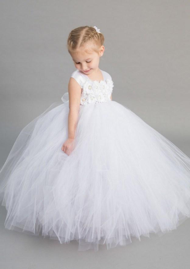 c769c2b68 A-Line/Princess Sleeveless Square Neckline Long/Floor-Length Tulle Flower  Girl Dress With Appliqued