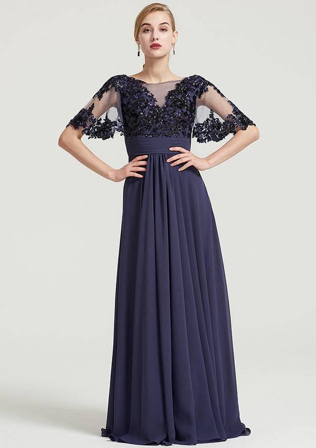 9b503425887070 A-line/Princess Bateau Short Sleeve Long/Floor-Length Chiffon Dress With  Pleated Appliqued
