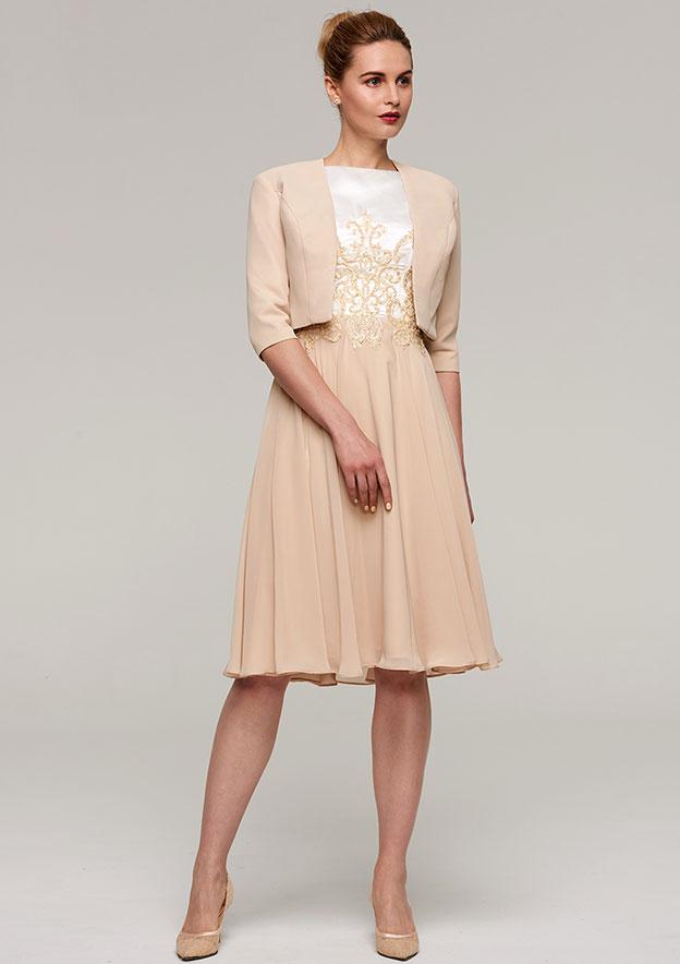 2b76e89536 A-line Princess Bateau Sleeveless Knee-Length Chiffon Mother of the Bride  Dress With Appliqued Jacket