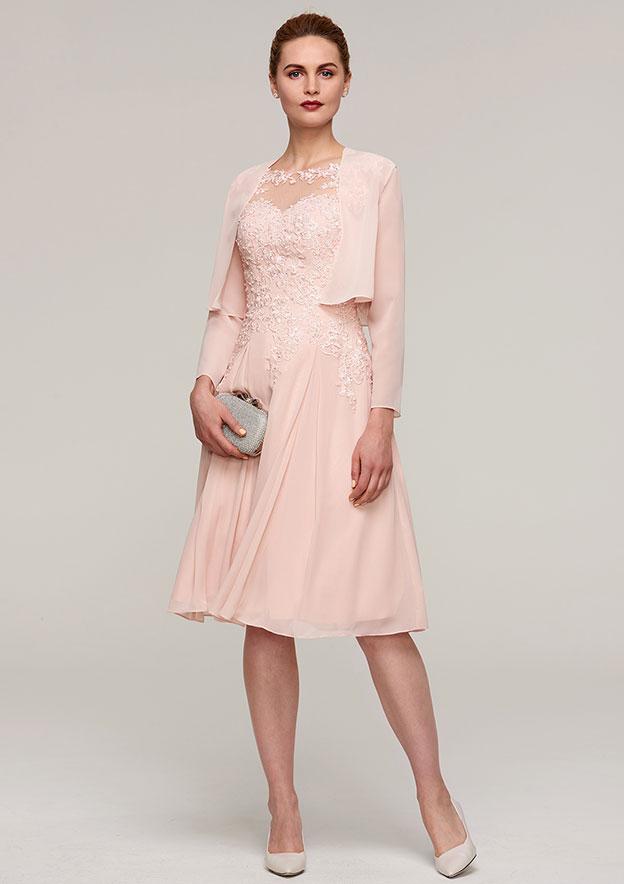 ea1a65ea20 A-line Princess Bateau Sleeveless Knee-Length Chiffon Mother of the Bride  Dress With Jacket Appliqued Beading