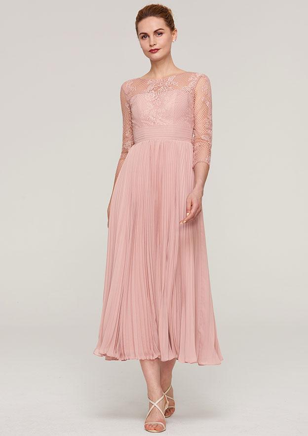 0296866995 A-line Princess Bateau 3 4 Sleeve Tea-Length Chiffon Mother of the Bride  Dress With Lace Pleated