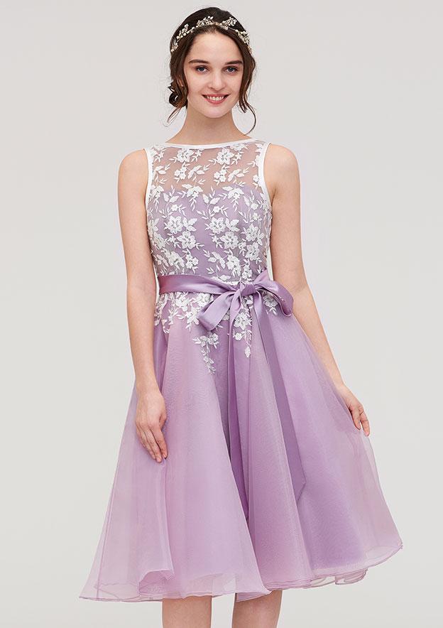 77727d1028c A-line Princess Bateau Sleeveless Knee-Length Organza Bridesmaid Dress With  Sashes Lace