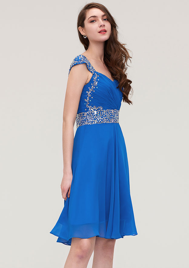c485ba41f99d A-line/Princess V Neck Sleeveless Short/Mini Chiffon Homecoming Dress With  Beading Pleated